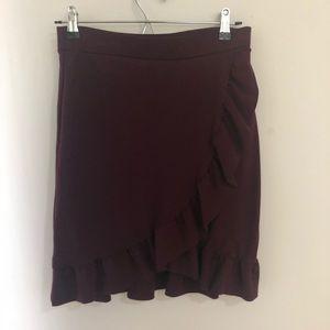 Maroon layered ruffle skirt from Loft
